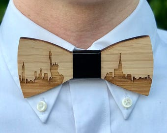 New York Skyline - Wood Bowtie - Wood Bow Tie - Wooden Bowtie - Mens Bow Ties - Bow Tie - Gift For Men - Unique Gift for Him - Wooden Tie