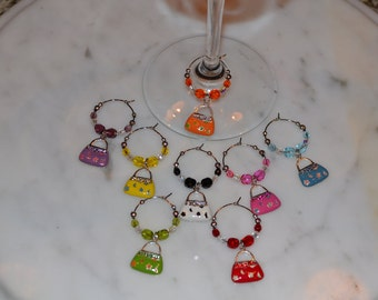 Purse Purses with Rhinestones  Wine Charms w pouch 8 pieces