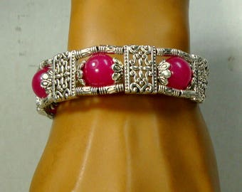 SALE, Tibetan Silver & Raspberry JADE Bead Bracelet, Lobster Catch Closure, Price for One, But I Have 2 Today