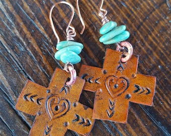 Cross Earrings  - Leather Earrings - Hand Tooled Leather - Turquoise Earrings - Western Jewelry - Cowgirl Jewelry by Heart of a Cowgirl