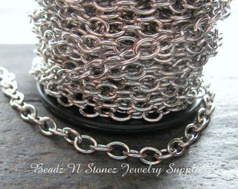 5 Feet - Nickel Silver Plated Brass 4.6mm Drawn Cable Chain