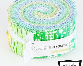 """JELLY ROLL - Ocean (Blues & Greens) Modern Basics Jelly Roll from Michael Miller - 45 pieces 2.5""""x44"""""""