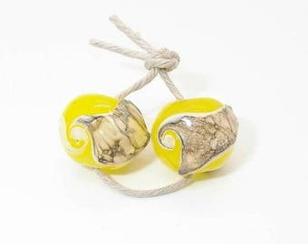 Handmade Yellow Glass Bead pr - Prima Donna Beads