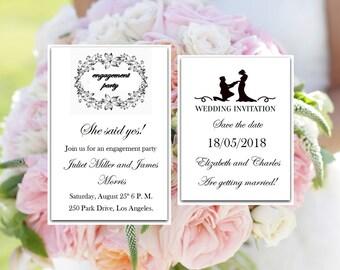 SET Wedding invitation template, Engagement Party, Save The Date, Printable  wedding program, editable  wedding program, Instant Download