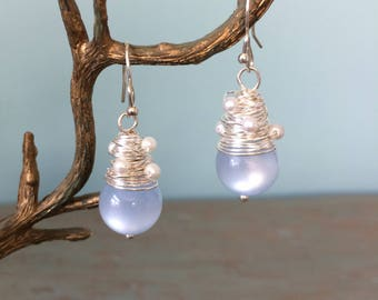 Light blue bead and pearl earrings