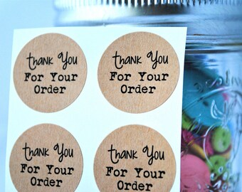 "100 ""Thanks for your order"" kraft round labels/seals"