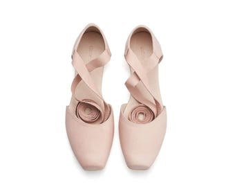 Blush leather ballerina shoes, pink ballerina shoes, brides shoes, ana, pink shoes