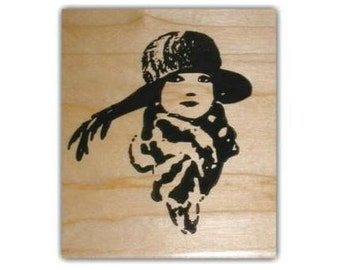 Woman with Scarf and Hat Flapper-style lg. rubber stamp, lady, roaring 20's fashion, art deco style, person, people, Sweet Grass Stamps No.2