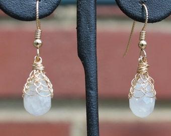 Moonstone Viking Knit Earrings 14Ktgf approx 7 carats  a piece
