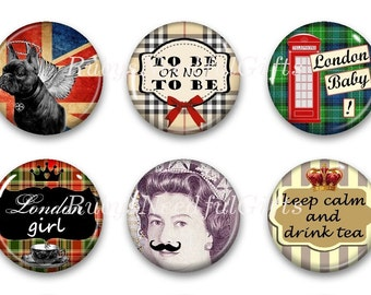 Magnets, Button Magnets, Fridge Magnets, London Magnets, 1 1/4 inch, Best friends gift, Hostess Gift, SET OF 6.