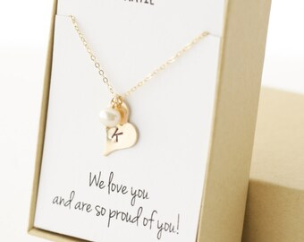 Little Girl Necklace - Girls Jewelry - Gifts for Daughter - Birthday Gift- Christmas Gift- Baptism Gift - Gold Heart Letter Necklace - Pearl
