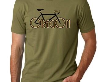 Oregon Bike t-shirt,  Olive Green Bike Oregon tee, Original Mens graphic tee, Gift for Him, Art T-shirt, Cool t-shirt