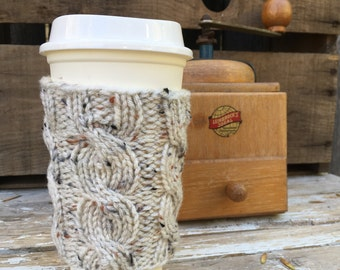 Coffee Sleeve, Coffee Cup Sleeve, Coffee Cup Cozy, Coffee Sleeves, Travel Mug Sleeve,  Mug Cozy, Cable Knit Coffee Cozy, Knit Accessories