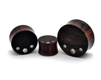Pair of Sono Wood Plugs with Triple CZ gem stones (PW-268) - Sold as a Pair - 5/8, 3/4, 7/8, 1 inch gauges