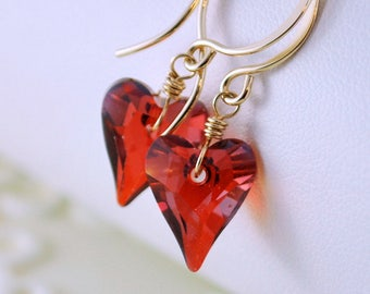 Crystal Earrings Swarovski, Valentine's Day, Deep Red Magma Heart, Drop, Romantic, Gold Filled Jewelry