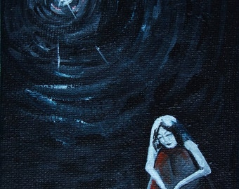 Original Art Painting, Small Acrylic painting, Primitive art by artist, Small light, Woman in Dark Room