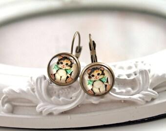 Pretty cat  earrings sweet lolita feminine leverback kitty kitteh