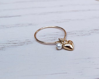 Small ring with gold heart charm and pearl. Tiny ring- pearl and little heart. Stackable ring with pearl + heart