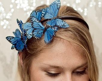 Blue Butterfly Woodland Headband