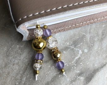 BEADED BOOKMARK for Travelers Notebooks | Planners | Journals | Books PURPLE with crystal and gold accents