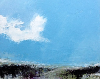 Landscape Painting oil on canvas 30x30cm - abstract painting, blue sky, cloud.