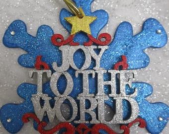Joy to the World Snowflake Christmas ornament