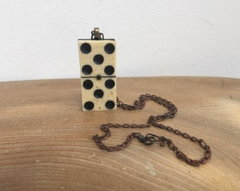 Antique Victorian Bone and Ebony  'Domino' Pendant from The Curio Cupboard - '5/5' with vintage copper chain and hand made wirework fastener
