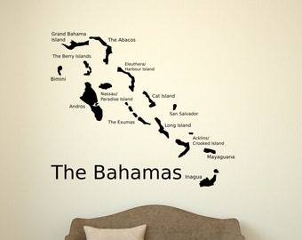 Bahamas map, map decal, Bahamas decal, bahamas wall art, Bahamas wall sticker, Bahamas art, Bahamas decor, map decor, island decal