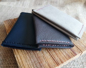 Handmade mini real leather bi-fold wallet - 3 colours!!  minimalist - unisex - card wallet - loyalty cards