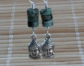 Buddha Wire Wrapped Dangle Drop Earrings African Turquoise and Silver - Heishi Bead Jewelry