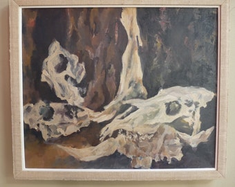 Vintage Oil Painting ~ Still Life of Horses Skull and Remnants