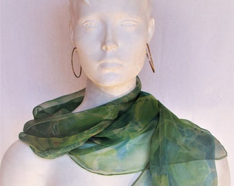 """Silk sheer chiffon green, blue with a touch of pink scarf, women's gift, 100% silk scarf, 14"""" x 66"""", women's accessories"""