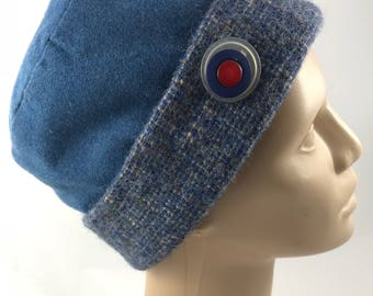 Up cycled-wool-pillbox-repurposed hat-fall hat- winter hat-wool up cycled hat-removable pin-hand washable-blue-gray-dress hat-warm-church