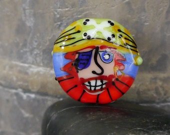 Handmade lampwork bead focal  |  Going Back to Being a Pirate: Captian Red Beard |  lentil-shaped |  SRA  |  artisan glass |  Silke Buechler
