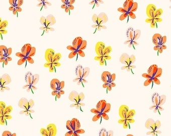 Pansies in Cream Cotton Lawn Fabric from the Sleeping Porch Collection by Heather Ross for Windham Fabrics