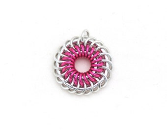Pink Jewelry, Chain Maille Pendant, Aluminum Jewelry, Jump Ring Jewelry, Bright Pink Pendant