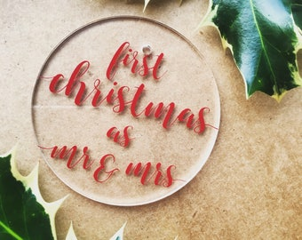 First christmas as mr & mrs decoration - christmas tree bauble - ornament - modern perspex - clear - wedding gift - newlywed present