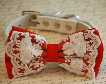 Red Dog Bow Tie,Lace Bow tie, Vintage Wedding, Red Pet accessory, Love Red, Dog Lovers, Cute, Chic, Proposal Idea