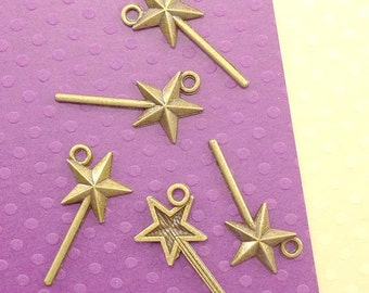 Magic Wand Charm. 10 pcs Antique Bronze Magic Star Wand Charms 25x13mm. Fairy Wand Pendant. Fairy Godmother Jewelry. - (10 - 0053E)