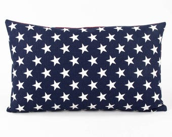 """Blue and White American Star Cushion Cover, Country Pillow, USA, 12x20"""" Lumbar, White and Blue Star, Flag Star, Patriotic"""