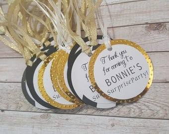 FAVOR TAGS Thank you gift tags personalized Thank you for celebrating with us custom colors gold black silver white