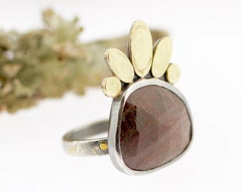 Lichen Lotus Petal Currant Rose Cut Sapphire Ring Sterling Silver Recycled Metal Statement Nature Jewelry