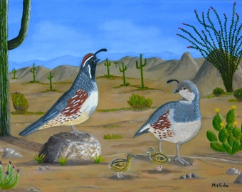 Quails Print, Birds Painting, Desert Painting, Print of my Original, Gift Idea, Housewarming, Valentine Gift,  11x14inm, MelidasArt