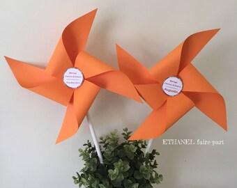 Mill wind mill orange wedding, set of 7 large pinwheels