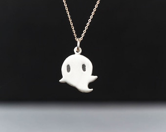 Ghost Necklace Kids Halloween Necklace Ghost spirit pendant sterling silver gift kids Birthday gift Jewelry Birthday Necklace