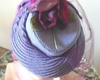 "1940's Cornflower Blue ""TOY"" Style Cocktail Hat/ Fuchsia Roses/Purple Veil  Item #750  Hats"