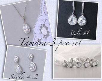 Bridal Jewelry Set, Wedding Jewelry Set, Bridal Earrings, Necklace & Bracelet Set, Crystal Bridesmaids Set, TAMARA Set 2.0