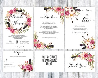 Boho wedding invitation set, Boho wedding, printable boho invitation, floral boho invitation, boho wedding template, Rustic wedding invite