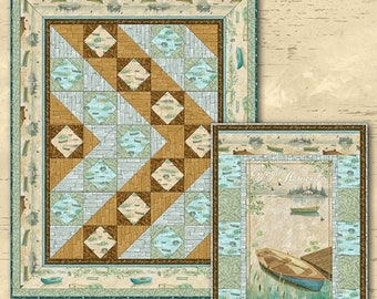Grads Dads Fun n Sun Sale Lakeside Retreat throw quilt kit from Wilmington Fabrics by artist Daphne B