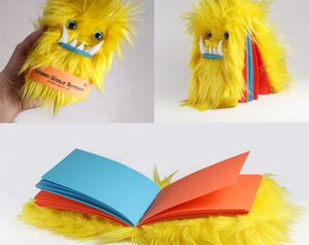 Children's monster journal Worry Woolie a yellow, fuzzy, magical book